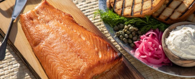 TEC Grills Hot Smoked Salmon - Ready to Eat with Grilled Bagels and Cream Cheese