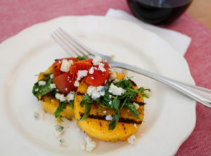 TEC Grills Romantic Italian Dinner - Grilled Polenta with Arugula, Tomatoes, and Gorgonzola