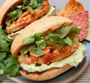TEC Grills Burgers - Fajita Lime Chicken Burgers with Spicy Guacamole and Escabeche