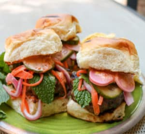 TEC Grills Burgers - Lemongrass Pork Sliders with Chili Garlic Mayonnaise and Cucumber Carrot Pickles