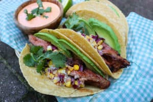 TEC Grills Summer Grilled Corn Flank Steak Tacos