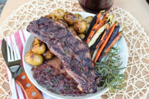 TEC Grills Red Wine and Rosemary Grilled Short Ribs - Short Ribs Plated with Grilled Potatoes and Carrots