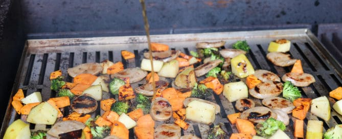TEC Grills One Grill Pan Suppers - Pouring Balsamic Vinegar over the Food on the Grill