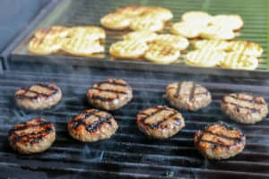 TEC Grills Burger Recipes - Breakfast Sausage Sliders with Waffle Buns on the Grill