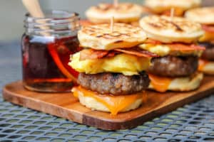 TEC Grills Burger Recipes - Breakfast Sausage Sliders with Waffle Buns