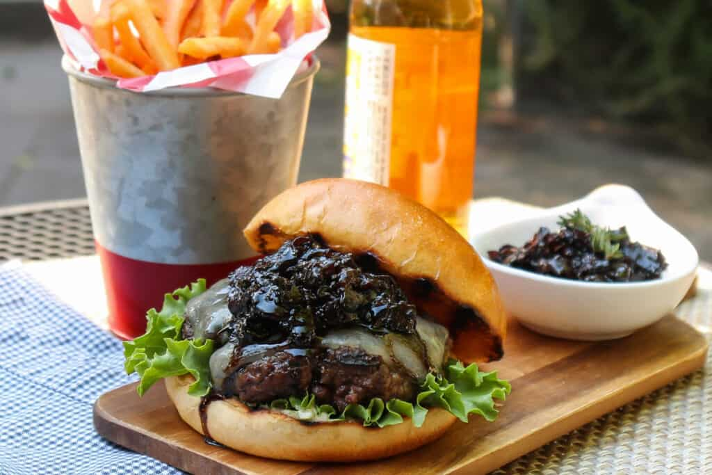 TEC Grills Bison Burgers with Balsamic Bacon Jam