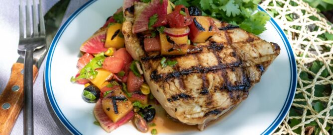 TEC Grills - Grilled Swordfish with Peach Watermelon Salsa