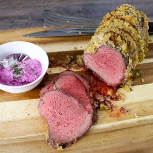 TEC Grills Holiday Roast - Dijon Mustard and Garlic Crusted Beef Roast with Horseradish Cream