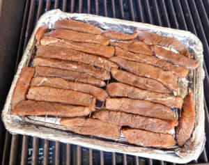 TEC Grills Homemade Beef Jerky - Steak on Foil Lined Sheet Pan