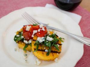 TEC Grills Romantic Italian Dinner - Grilled Polenta with Arugula, Tomatoes, and Gorgonzola