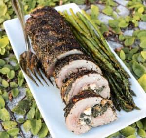 TEC Grills Pork Tenderloin 3 Ways - Spinach and Feta Stuffed