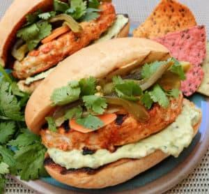 TEC Grills Burgers - Fajita Lime Chicken Burgers with Spicy Guacamole and Escabeche