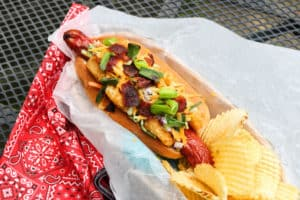 TEC Grills Out of the Bun Hot Dog Recipes -Loaded Baked Potato Dog