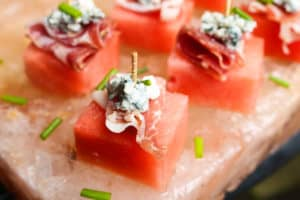 TEC Grills Salt Block Grilling Recipes and Tips - Salt Block Watermelon with Prosciutto and Blue Cheese