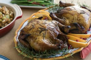 TEC Grills Pomegranate and Citrus Smoked Cornish Hens - On a Serving Platter
