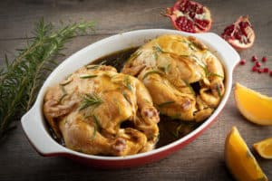 TEC Grills Pomegranate and Citrus Smoked Cornish Hens -Marinating the Cornish Hens